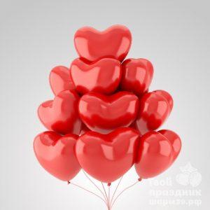 Облако из 10 гелиевых шаров сердечек