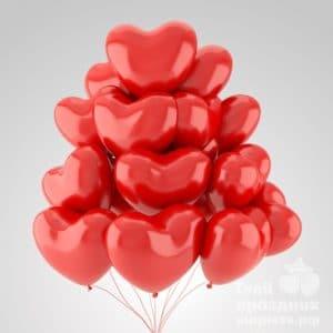 Облако из 15 гелиевых шаров сердечек
