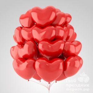 Облако из 20 гелиевых шаров сердечек