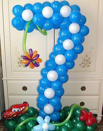 Цифра из воздушных латексных шаров