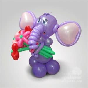 Слонишка - фигура из шаров, из воздушных шариков