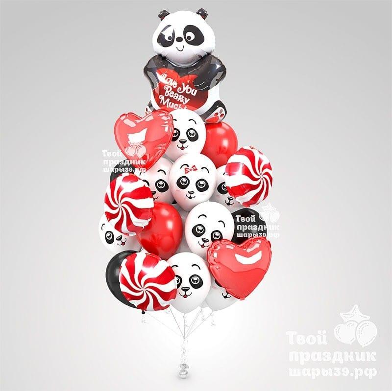 Влюбленный панда Букет из гелиевых шаров в Калининграде. Шары39.рф
