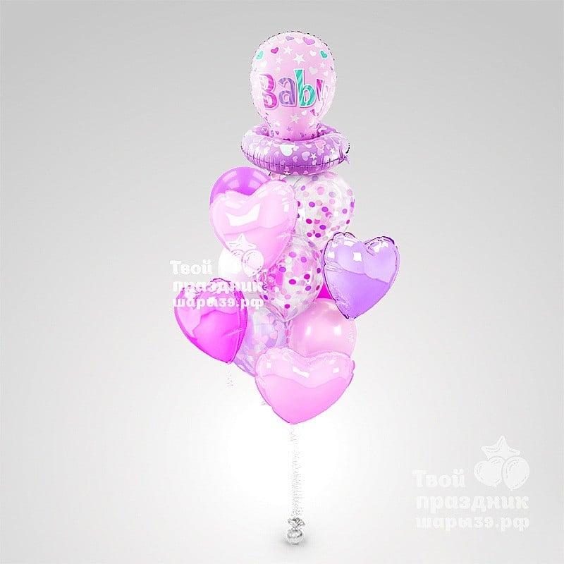 Букет из шаров для девочки на рождение! Шары39.рф