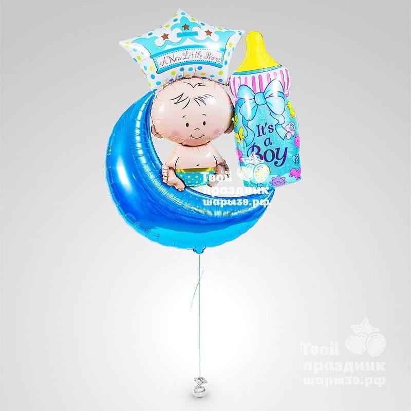 Композиция из фольгированных гелиевых шаров на рождение мальчика. Шары39.рф, Калининград