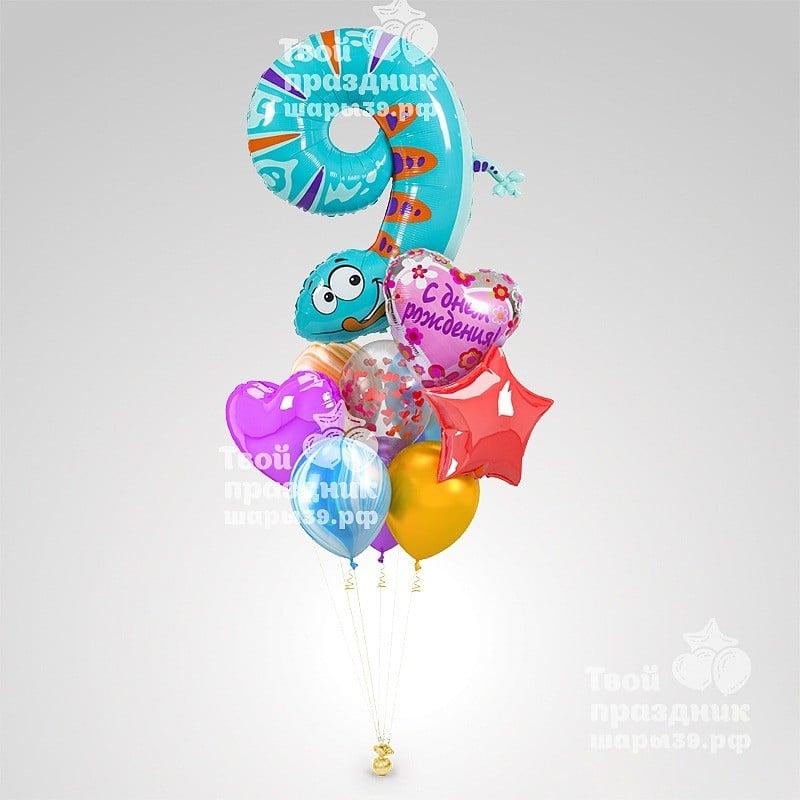 Букет из гелиевых шаров с цифрами для детей. Шары39.рф, Калининград