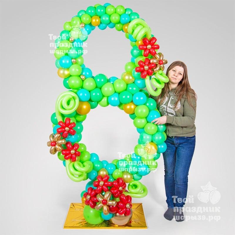 Большая декоративная цифра из воздушных шаров. Шары39, Калининград